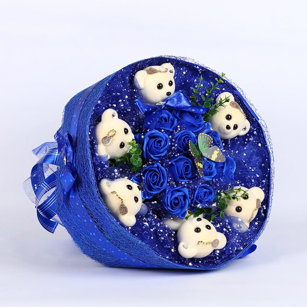 花束小熊圆形蛋糕玫瑰花创意圣诞节礼品