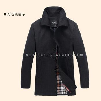 In the old men's wool coat in the long winter coat fur collar middle-aged Nezi