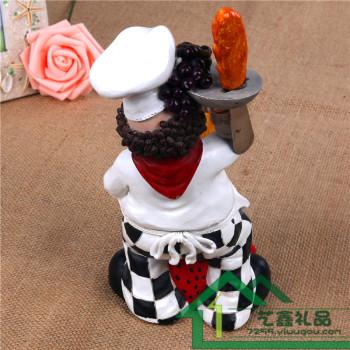欧式厨师树脂工艺品 时尚家居创意红酒架厨房装