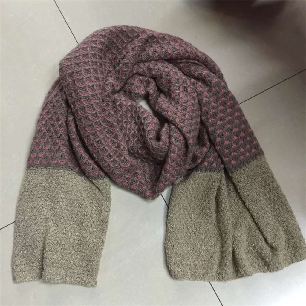 秋冬双色拼接双织毛线围巾