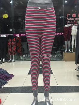 Fall/winter warm pants ladies old pulling trousers stripes pants niht market stall in dedicated