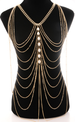 Beautiful jewelry classic style pearl accessories body chain fashion personality exaggerated body chain color protection
