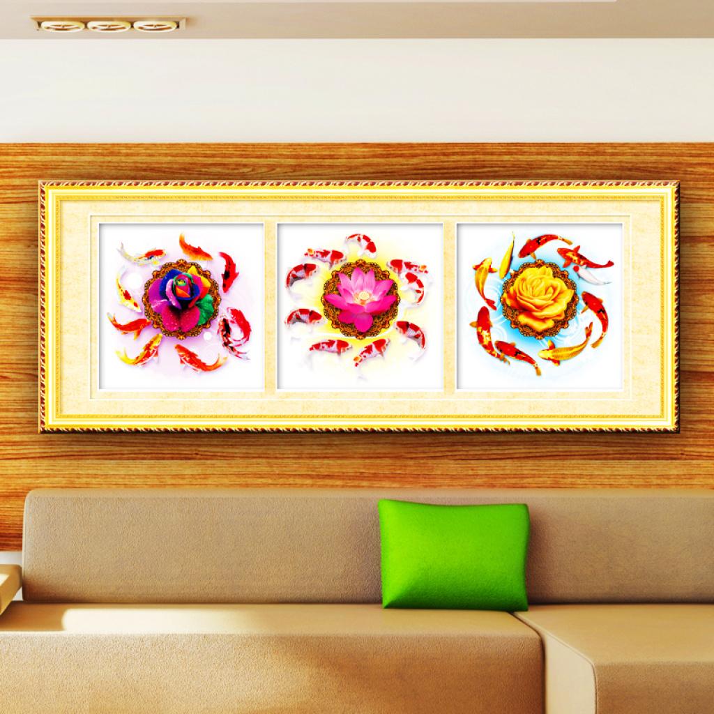 钻石画5d钻石十字绣客厅装饰画九鱼聚福图三联画