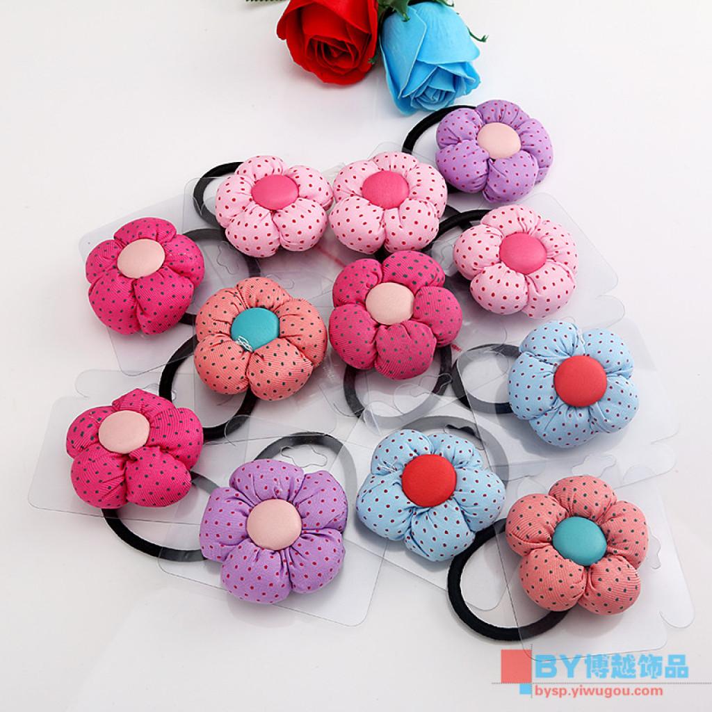 韩国可爱头绳儿童发圈布艺太阳花橡皮筋发饰头饰品