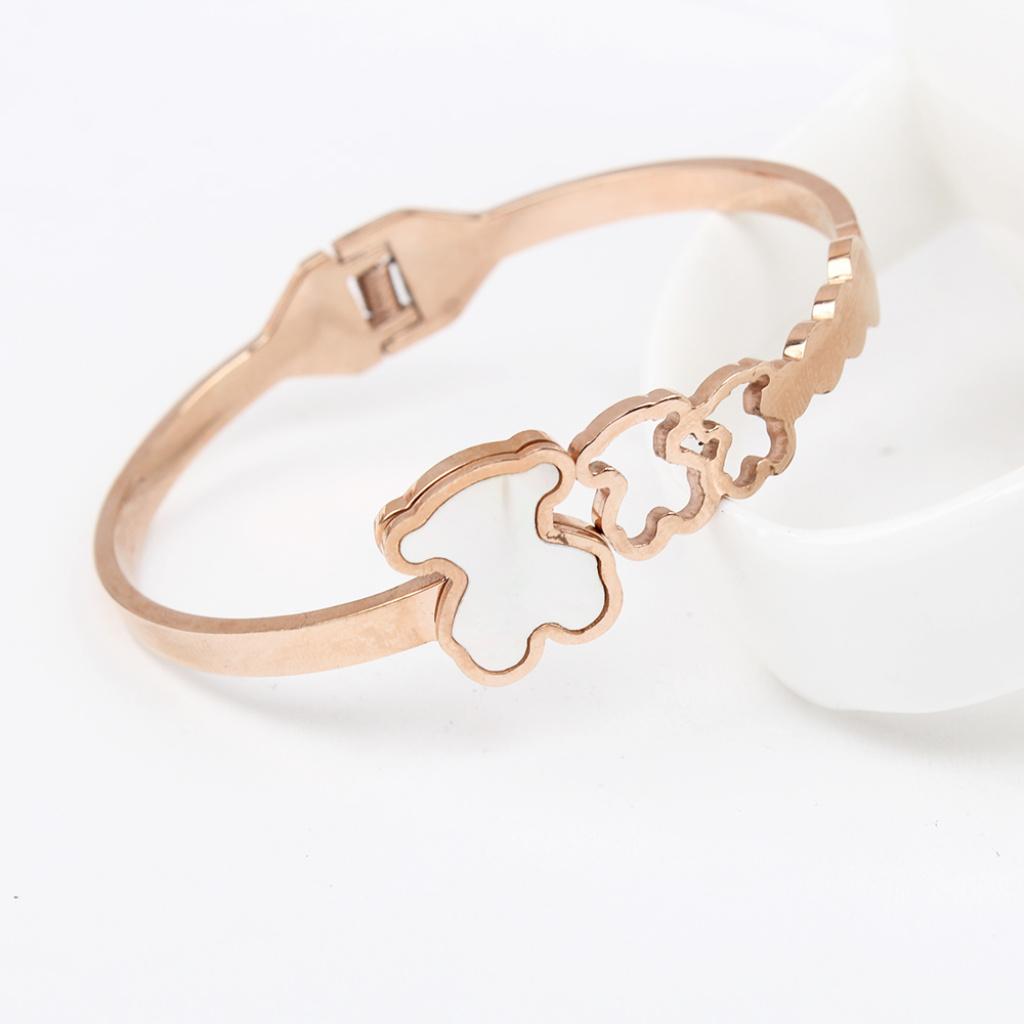 可爱韩国三只小熊镶贝壳镂空玫瑰金手镯 卡哇伊手镯