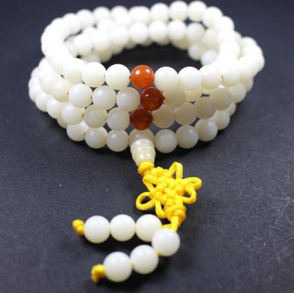 藏式佛教 108白玉菩提佛珠手链 实拍 菩提根 念珠图片