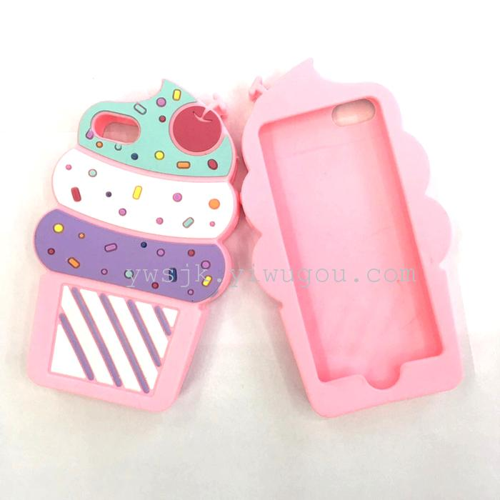 iphone6s甜筒冰激凌樱桃可爱雪糕硅胶手机壳
