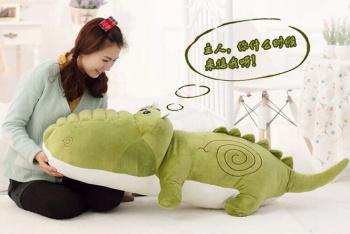 抱抱宝贝超大号鳄鱼毛绒抱枕卡通公仔义乌毛绒玩具批发
