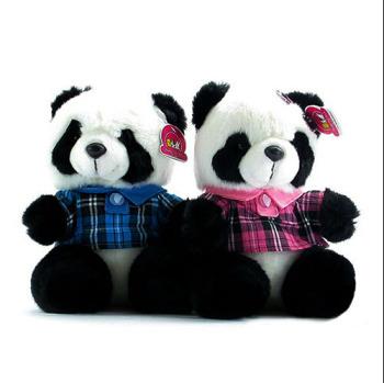 ToyClub毛绒玩具熊猫 生日结婚七夕节礼物 格子情侣熊猫