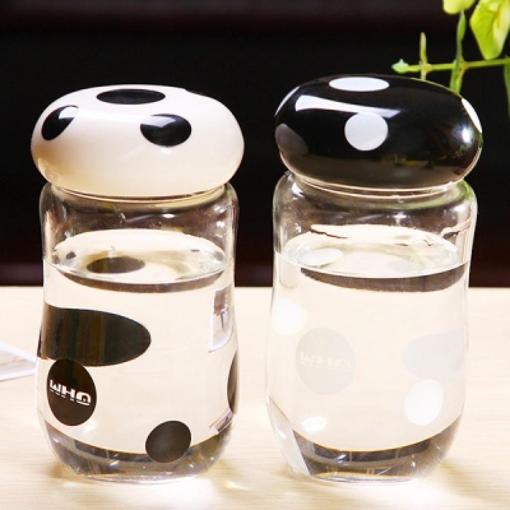 260ml卡通时尚蘑菇玻璃杯创意高硼硅水杯韩版透明杯子