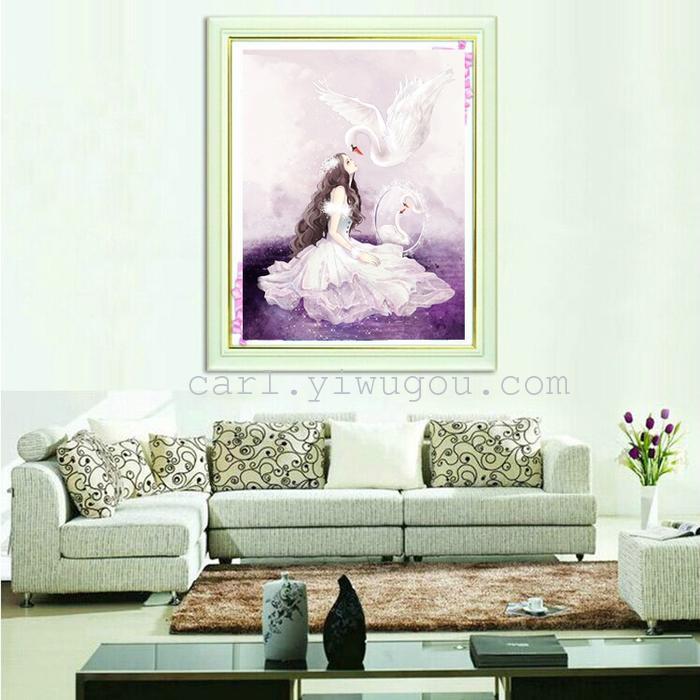 钻石十字绣魔钻满卧室客厅卡通天鹅公主贴贴画