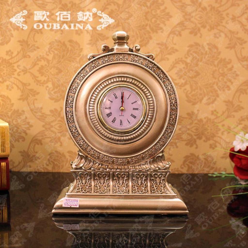 欧式复古高端大气圆形时钟摆件