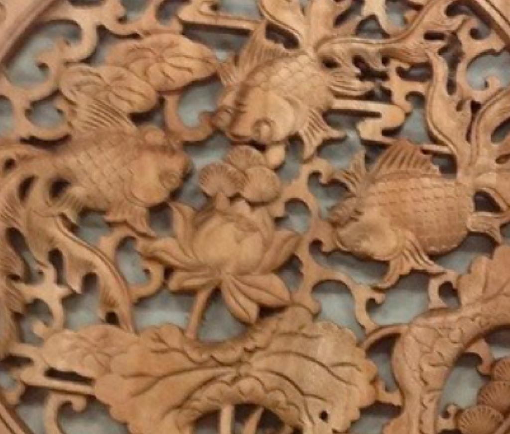 木雕小挂件金鱼满堂 香樟木装饰品