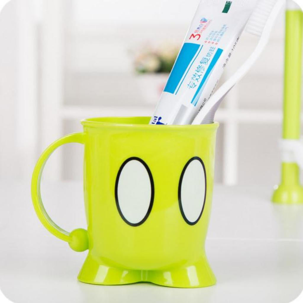 卡通创意眼睛图案洗漱杯 带手柄多用塑料刷牙杯 儿童刷牙杯