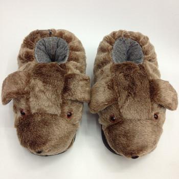 冬季保暖卡通动物电视棉鞋 泡沫底 长毛绒 多色