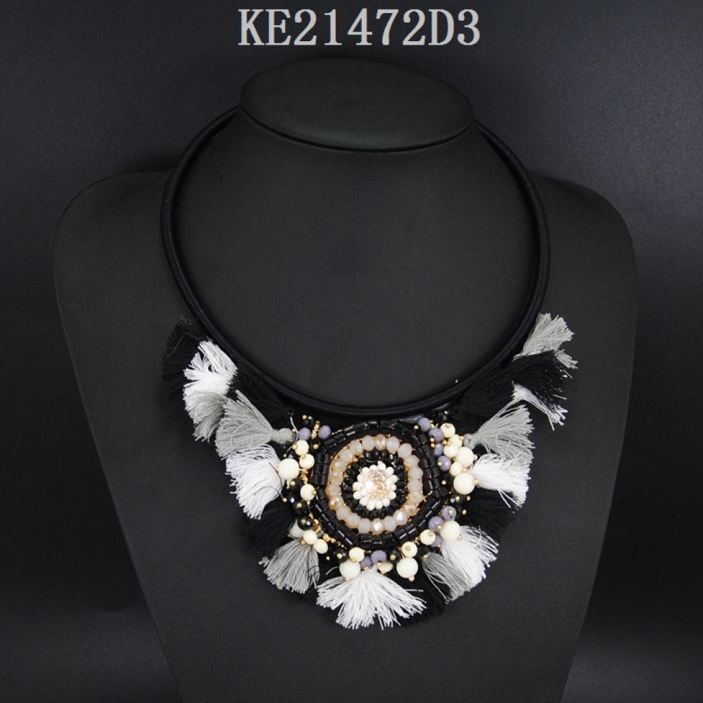 民族风饰品米珠棉线编织太阳花项链