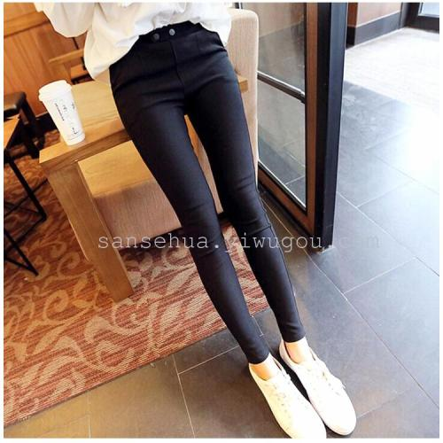Winter wear black trousers thick cashmere lady pants new elastic pencil pants