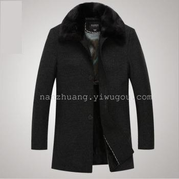The middle-aged men's coat with detachable fur collar cashmere jacket thickening