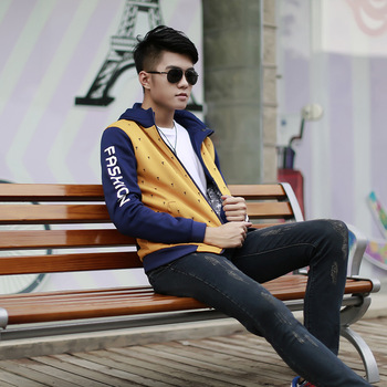 Men's fashion sweater British style all-match zipper cardigan sweater slim youth tide