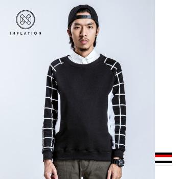 2015 winter men's T-shirt sweater checkered raglan sleeve