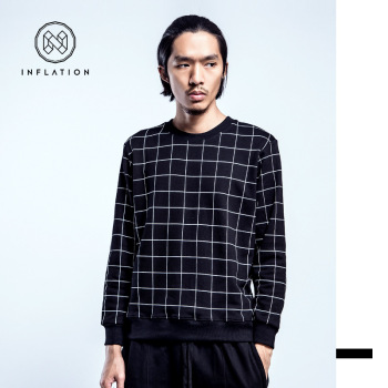 2015 autumn and tide brand men's plaid sweater collar men's head