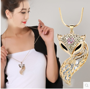 All-match fashion long sweater chain necklace with crystal long female accessories pendant Pendant Jewelry