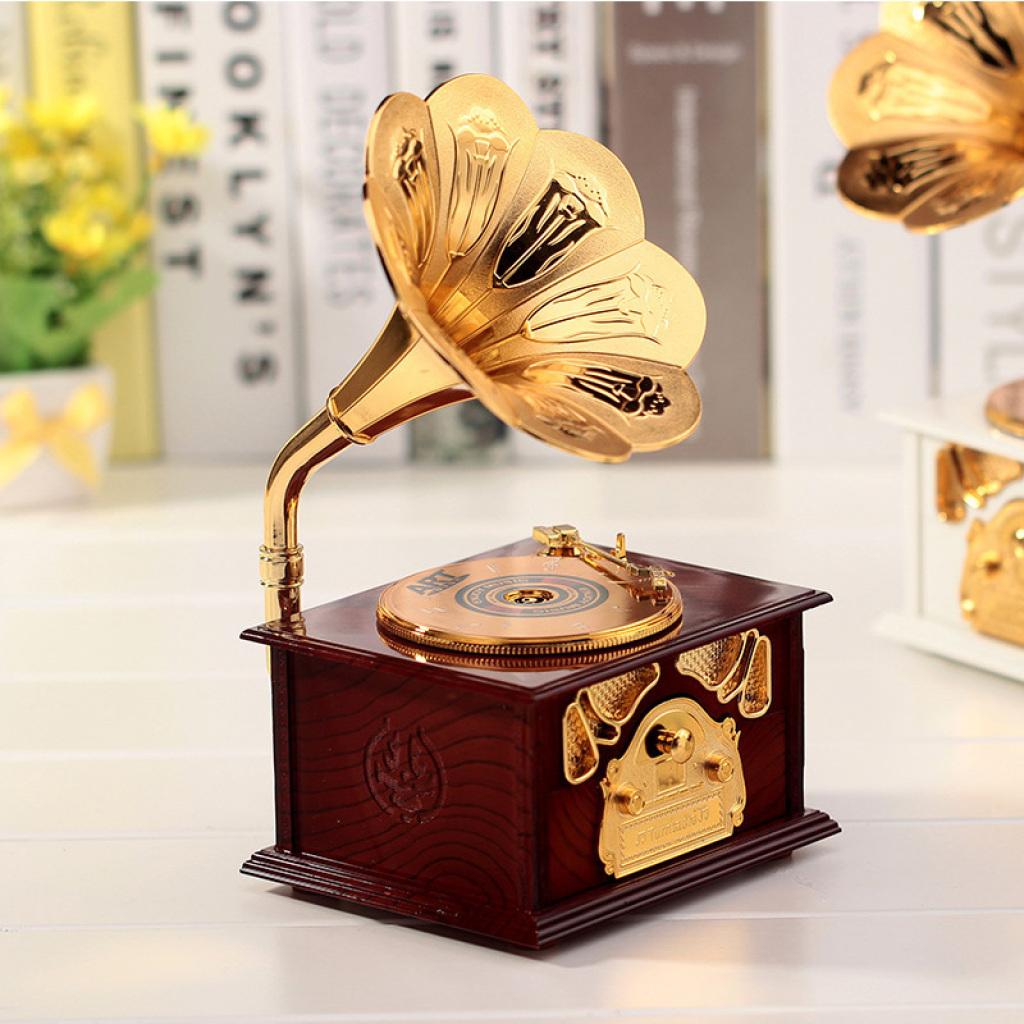 创意留声机造型音乐盒 复古八音盒图片