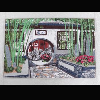 个园风景图案电脑刺绣装饰画