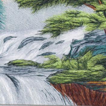 流水生财图案乱针绣电脑刺绣装饰画山水画