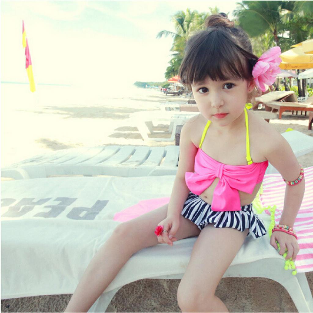新款韩国儿童泳衣女孩女童可爱比基尼分体裙式小中大