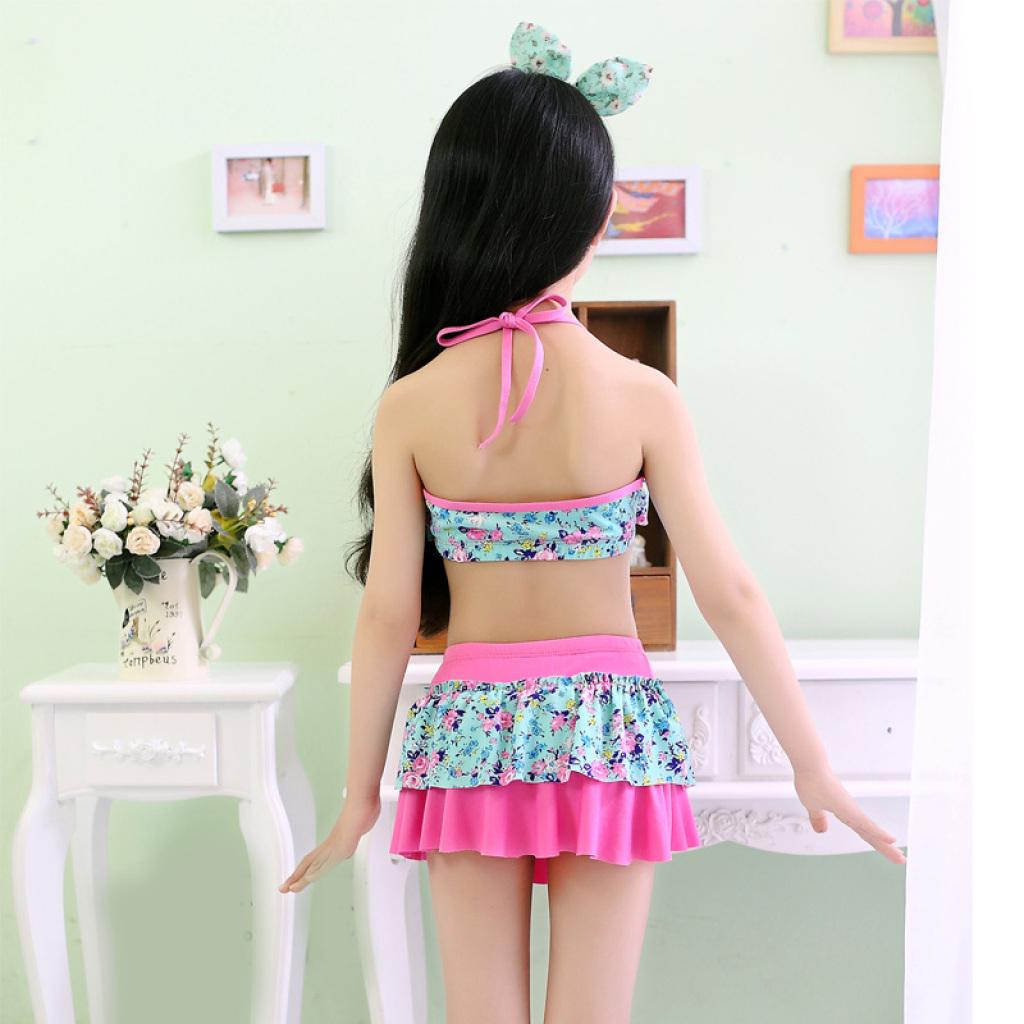 儿童泳衣女童泳装宝宝分体裙式比基尼泳衣韩版小孩游泳衣