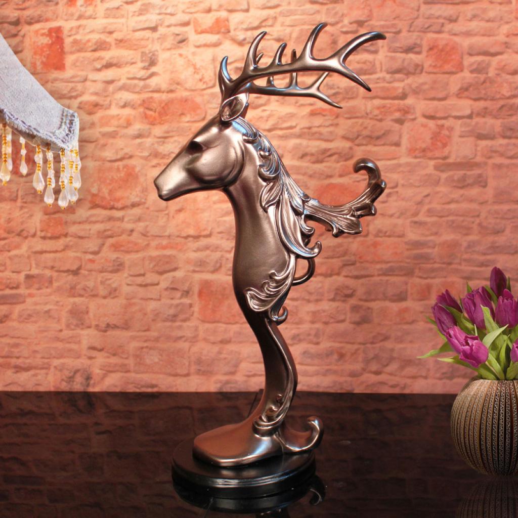 欧式风格 复古高端大气鹿摆件 树脂家居工艺品