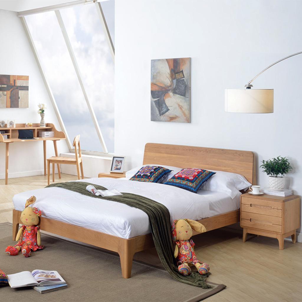 5米1.8米低箱实木双人床 简约现代原木家具