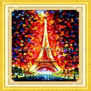 法国风景巴黎铁塔 小板树脂满钻钻石画