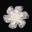 Pearl diamond brooch brooch double flowers