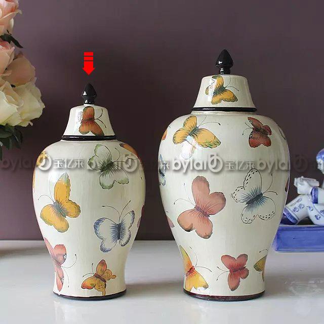 欧式田园风手绘蝴蝶陶瓷将军罐装饰罐