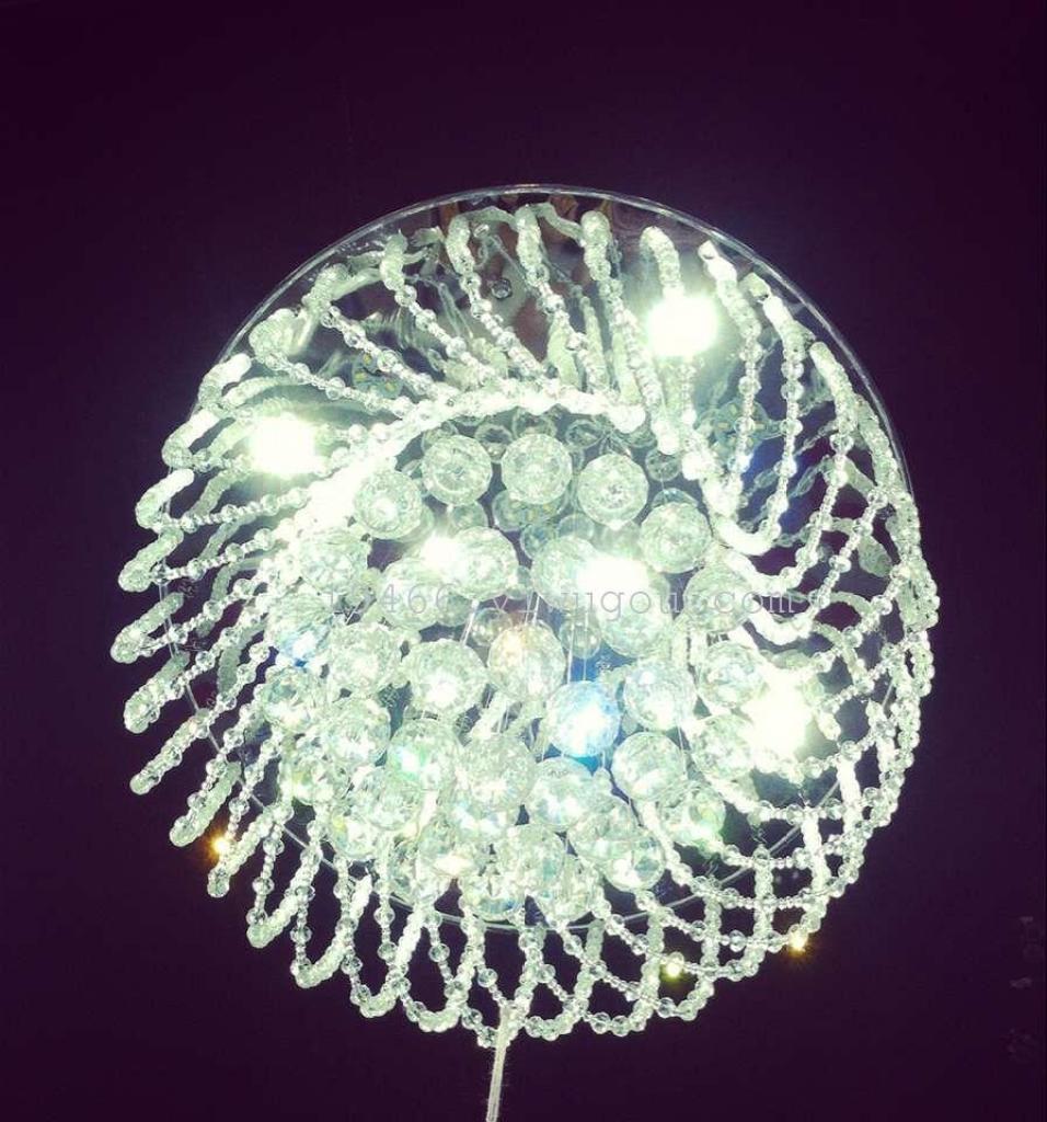 厂家直销欧式圆形珠帘水晶灯led贴片吸顶灯温馨卧室