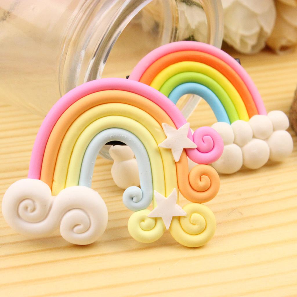 韩版时尚发饰可爱萌云朵糖果色彩虹边夹发夹儿童一字