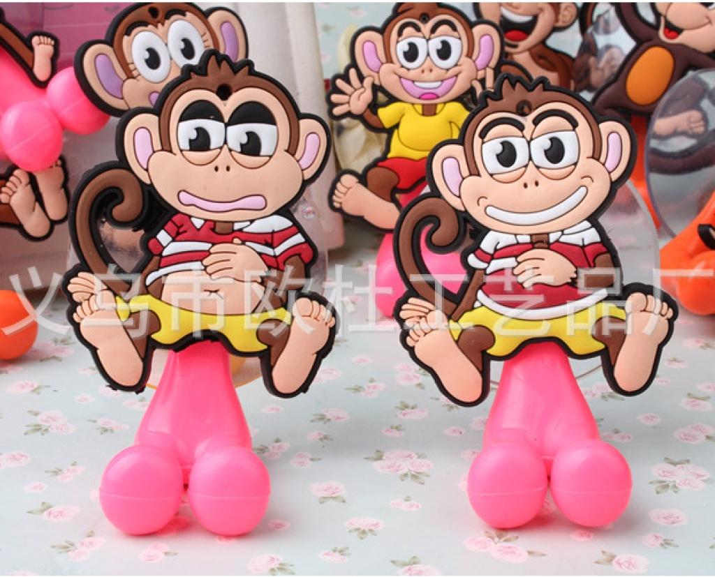 卡通可爱超萌猴子pvc软胶牙刷架