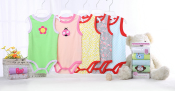 triangle cotton bodysuit with sleeveless leotard r clothes for baby 5 pcs/pack same size different colores