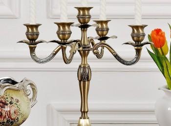 五头蜡烛台金属铜色装饰品