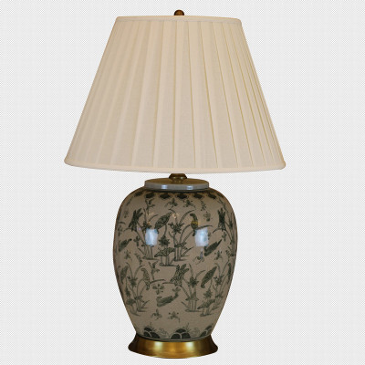 Fine porcelain crack hand painting craft porcelain export study the  bedroom bedside retro copper ceramic lamp