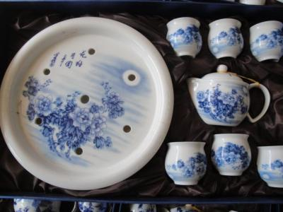 景德镇青花陶瓷器茶具 8件套茶具 茶盘