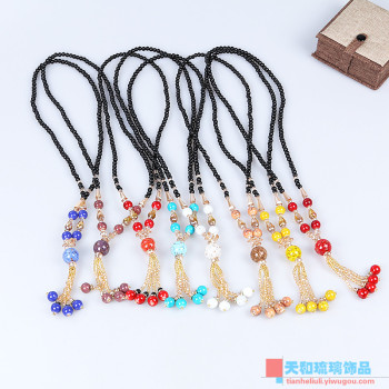 Handmade fashion Bohemia old glass necklace autumn and winter style national wind sweater chain length