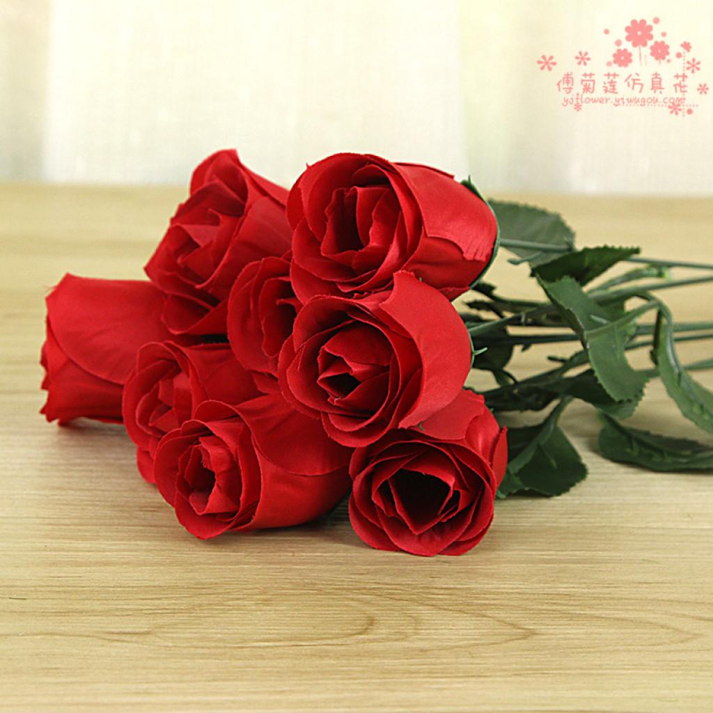 单支高仿真逼真玫瑰欧式仿真花假花情人节玫瑰花