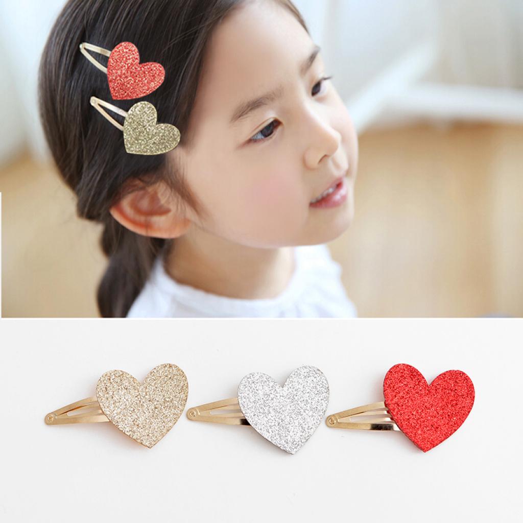 韩国正品儿童发饰头饰可爱亮片爱心韩式儿童发夹刘海边夹bb夹