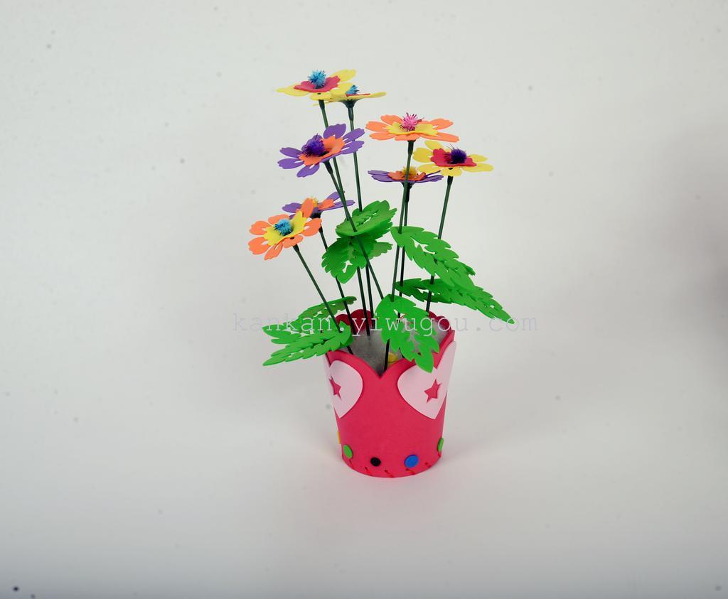 儿童手工diy制作eva材料包花盆图片