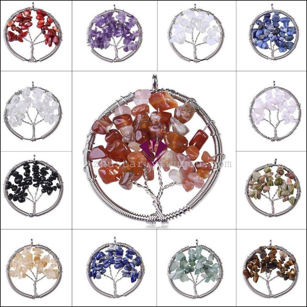 天然石珠宝饰品虎眼 松石 紫晶 玛瑙 蛋白石生命树吊坠