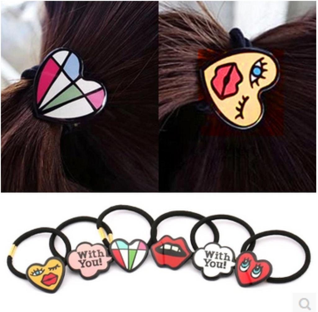扎头发饰品可爱卡通发圈发绳日韩版涂鸦韩式头绳简约皮筋发饰
