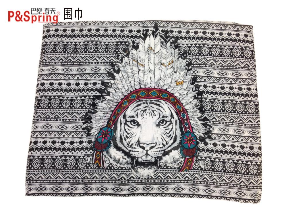 2015新款【巴黎春天】古埃及风动物图案人棉围巾